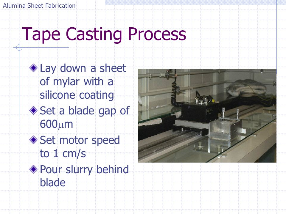 Tape Casting Process Lay down a sheet of mylar with a silicone coating Set a blade gap of 600 m Set motor speed to 1 cm/s Pour slurry behind blade Alu