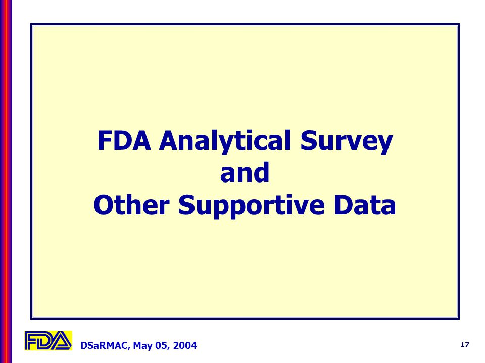 DSaRMAC, May 05, 2004 17 FDA Analytical Survey and Other Supportive Data