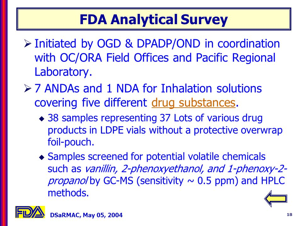 DSaRMAC, May 05, 2004 18 FDA Analytical Survey Initiated by OGD & DPADP/OND in coordination with OC/ORA Field Offices and Pacific Regional Laboratory.