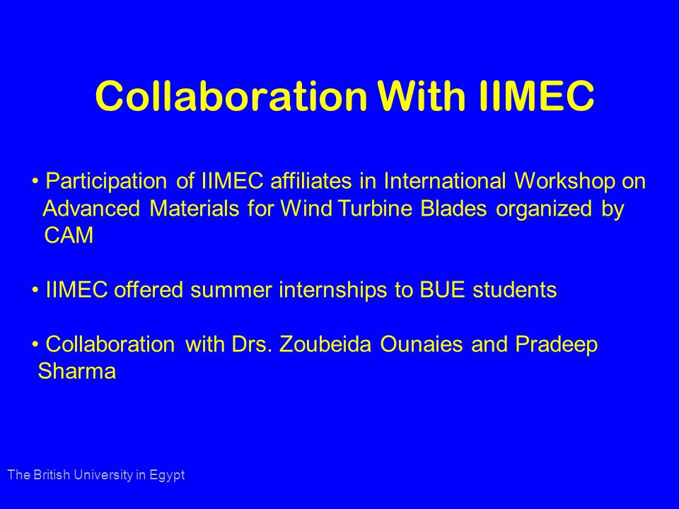 Collaboration With IIMEC The British University in Egypt Participation of IIMEC affiliates in International Workshop on Advanced Materials for Wind Turbine Blades organized by CAM IIMEC offered summer internships to BUE students Collaboration with Drs.