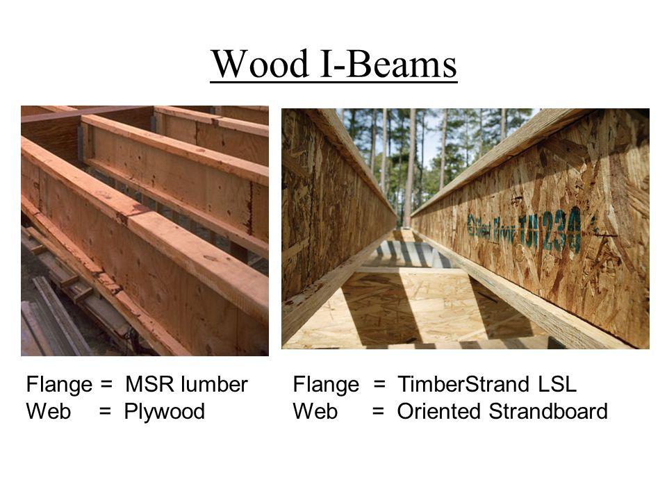 Wood I-Beams Flange = MSR lumberFlange = TimberStrand LSL Web = PlywoodWeb = Oriented Strandboard