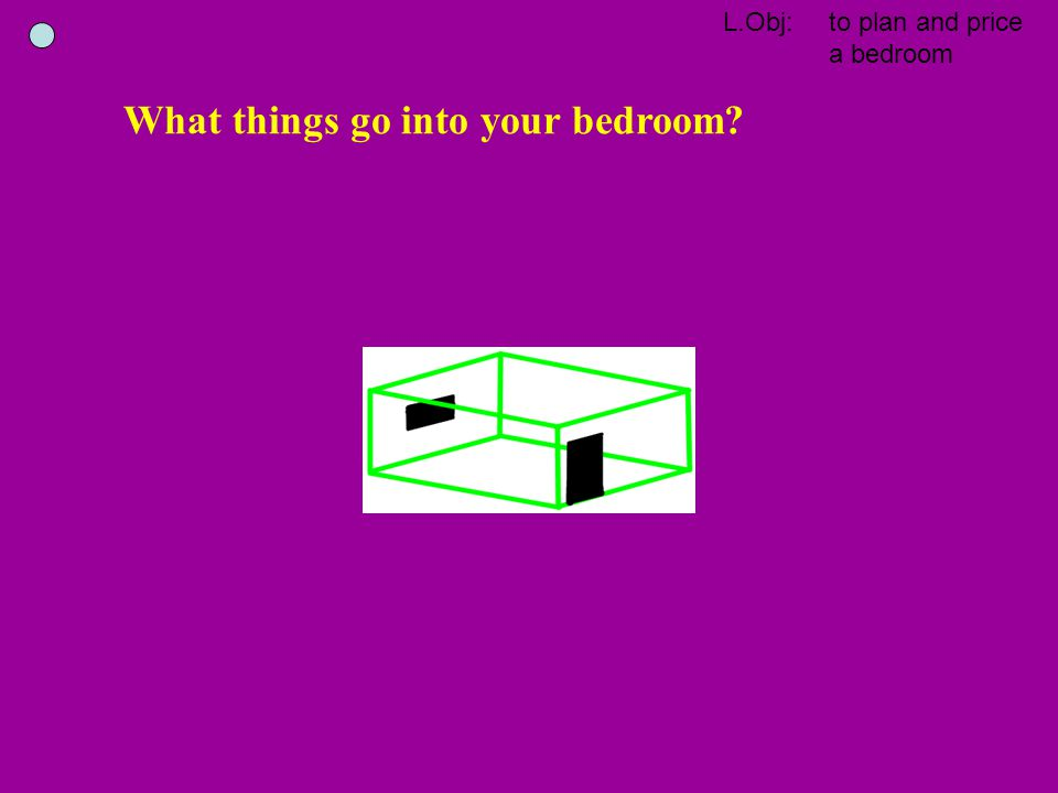 What things go into your bedroom?