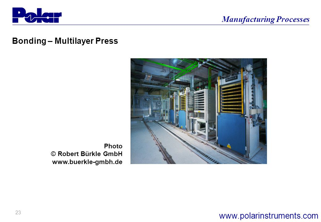 22 Manufacturing Processes www.polarinstruments.com Impedance Considerations Bonding – Multilayer Press Layer 6 (Outer) Layer 2 (Inner) Layer 3 (Inner
