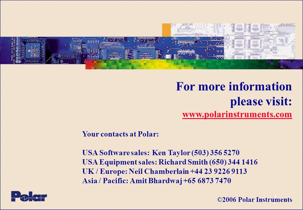 43 Manufacturing Processes www.polarinstruments.com Polar tools to assist in impedance prediction: Si8000m Controlled impedance design system