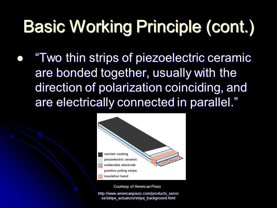 http://www.americanpiezo.com/products_servic es/stripe_actuators/stripe_background.html Basic Working Principle (cont.) When electrical input is applied, one ceramic layer expands and the other contracts, causing the actuator to flex.