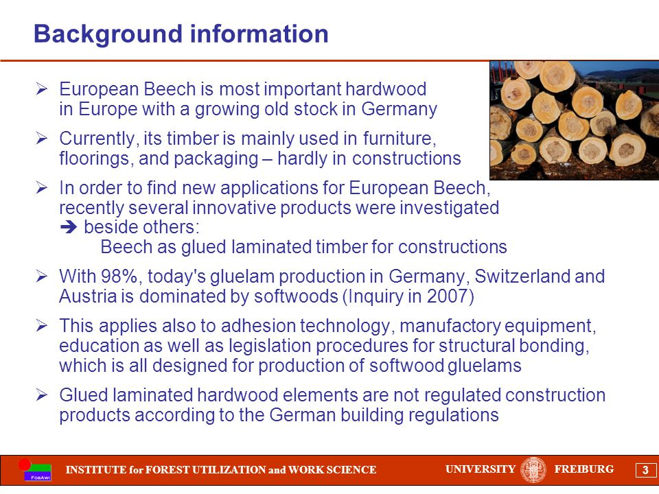 INSTITUTE for FOREST UTILIZATION and WORK SCIENCE 3 UNIVERSITYFREIBURG Background information European Beech is most important hardwood in Europe with a growing old stock in Germany Currently, its timber is mainly used in furniture, floorings, and packaging – hardly in constructions In order to find new applications for European Beech, recently several innovative products were investigated beside others: Beech as glued laminated timber for constructions With 98%, today s gluelam production in Germany, Switzerland and Austria is dominated by softwoods (Inquiry in 2007) This applies also to adhesion technology, manufactory equipment, education as well as legislation procedures for structural bonding, which is all designed for production of softwood gluelams Glued laminated hardwood elements are not regulated construction products according to the German building regulations