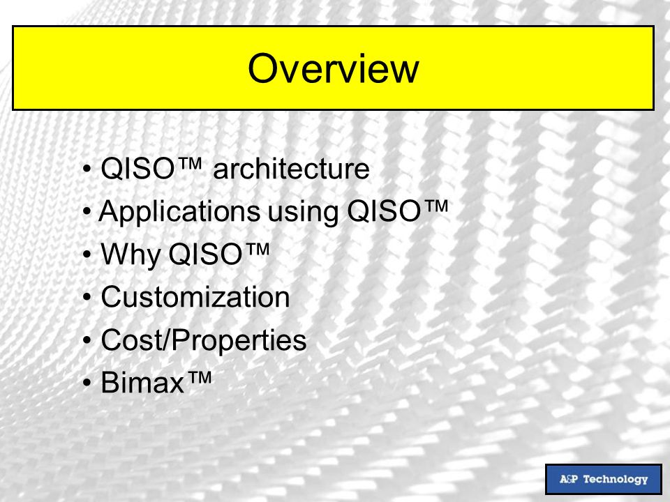 QISO architecture Applications using QISO Why QISO Customization Cost/Properties Bimax Overview