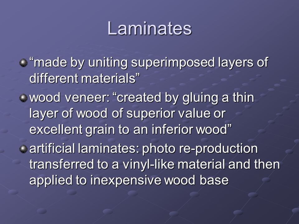 Wood By-Products Composition board (particle board, pressed board, fiberboard, hardboard) particles of wood bonded together with waterproof glue; the different types are distinguished by the size and shape of the particles of wood used Plywood: thin sheets of wood glued together so that the grains are at right angles to one another; an odd number of sheets will be used so that the grain on the front and back will always run the same direction