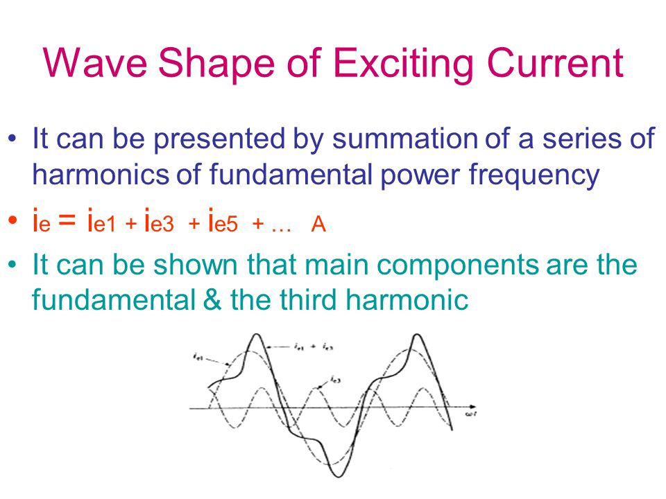 Wave Shape of Exciting Current It can be presented by summation of a series of harmonics of fundamental power frequency i e = i e1 + i e3 + i e5 + … A It can be shown that main components are the fundamental & the third harmonic