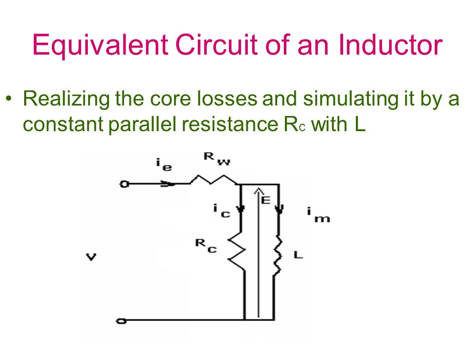 Equivalent Circuit of an Inductor Realizing the core losses and simulating it by a constant parallel resistance R c with L