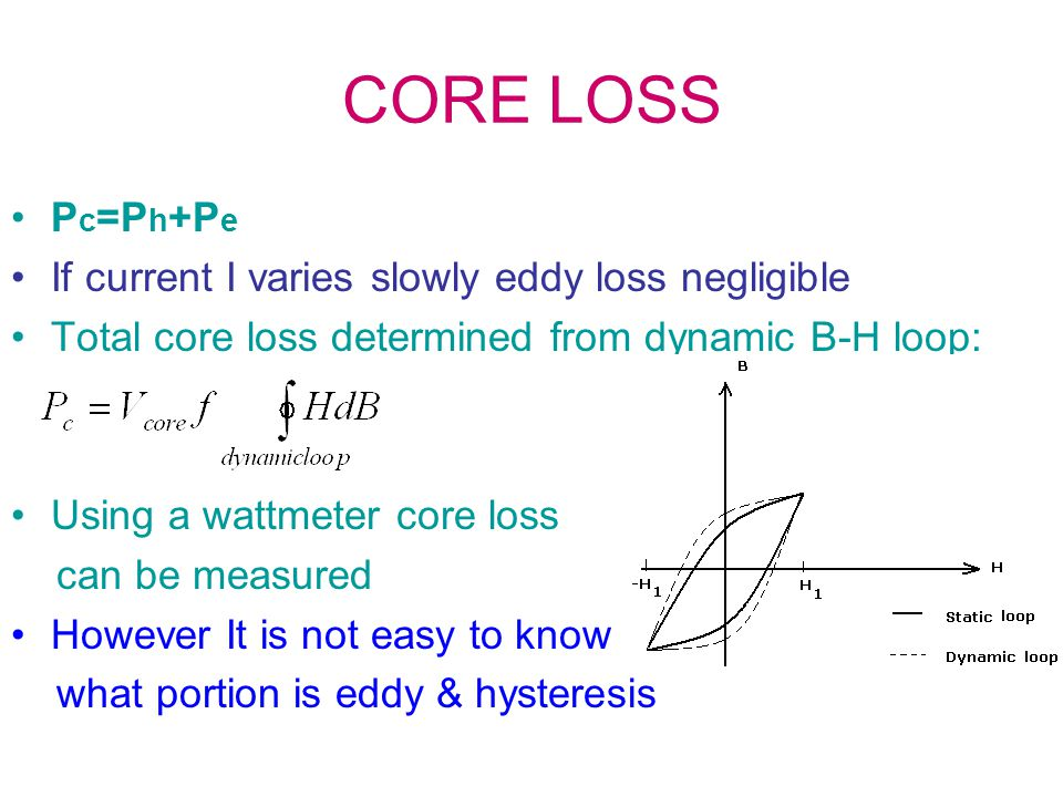 CORE LOSS P c =P h +P e If current I varies slowly eddy loss negligible Total core loss determined from dynamic B-H loop: Using a wattmeter core loss can be measured However It is not easy to know what portion is eddy & hysteresis