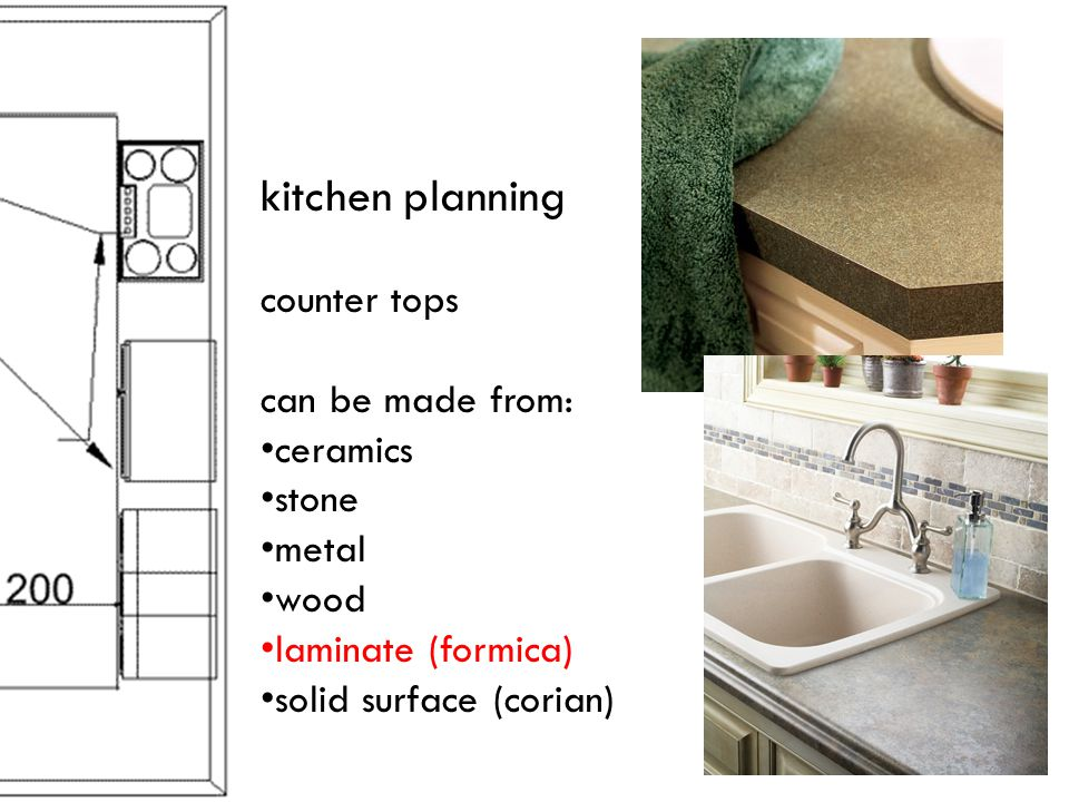 kitchen planning counter tops can be made from: ceramics stone metal wood laminate (formica) solid surface (corian)