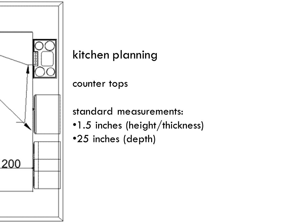 kitchen planning counter tops standard measurements: 1.5 inches (height/thickness) 25 inches (depth)