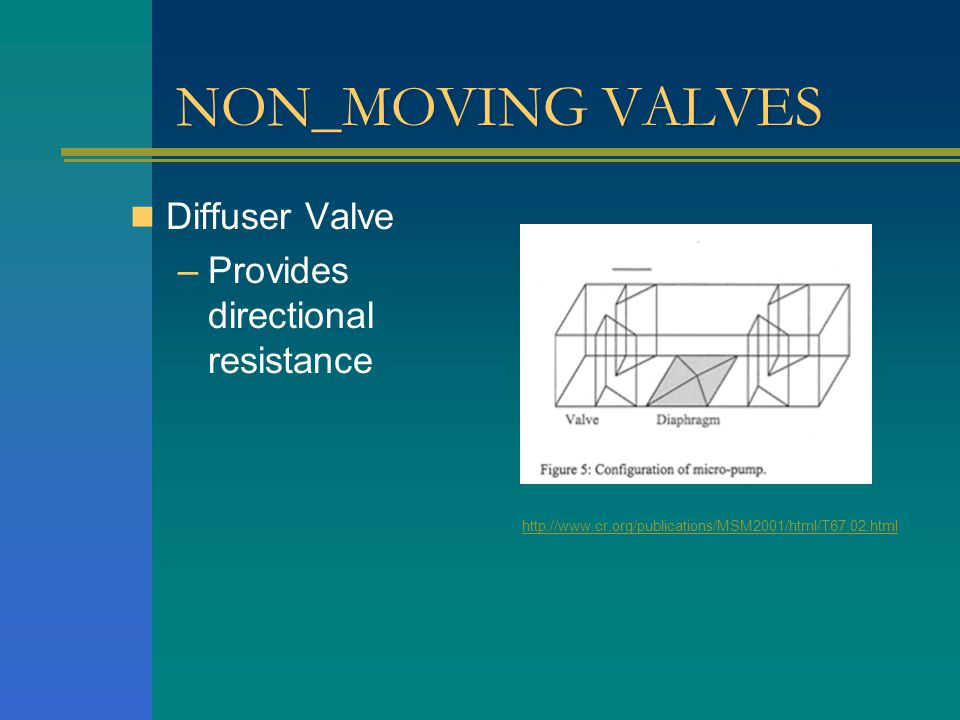 NON_MOVING VALVES Diffuser Valve –Provides directional resistance http://www.cr.org/publications/MSM2001/html/T67.02.html
