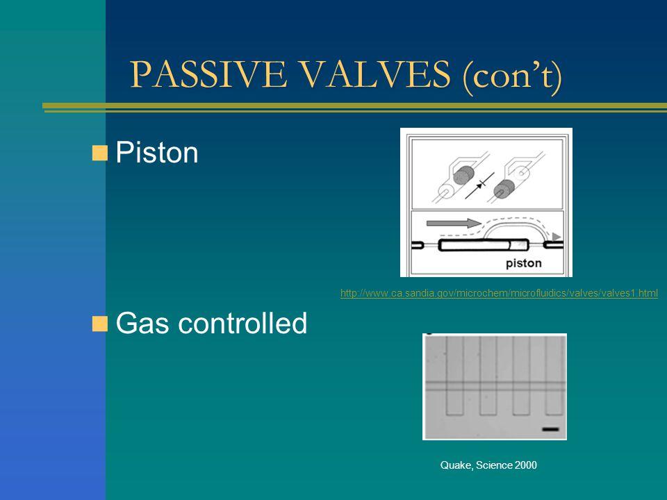 PASSIVE VALVES (cont) Piston Gas controlled http://www.ca.sandia.gov/microchem/microfluidics/valves/valves1.html Quake, Science 2000