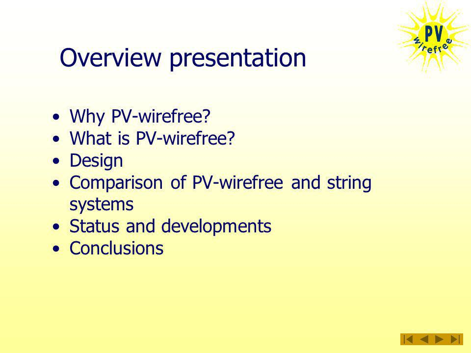 Overview presentation Why PV-wirefree. What is PV-wirefree.