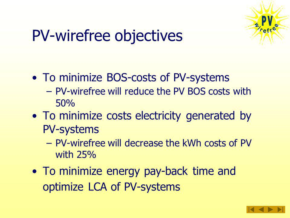 PV-wirefree objectives To minimize BOS-costs of PV-systems –PV-wirefree will reduce the PV BOS costs with 50% To minimize costs electricity generated by PV-systems –PV-wirefree will decrease the kWh costs of PV with 25% To minimize energy pay-back time and optimize LCA of PV-systems