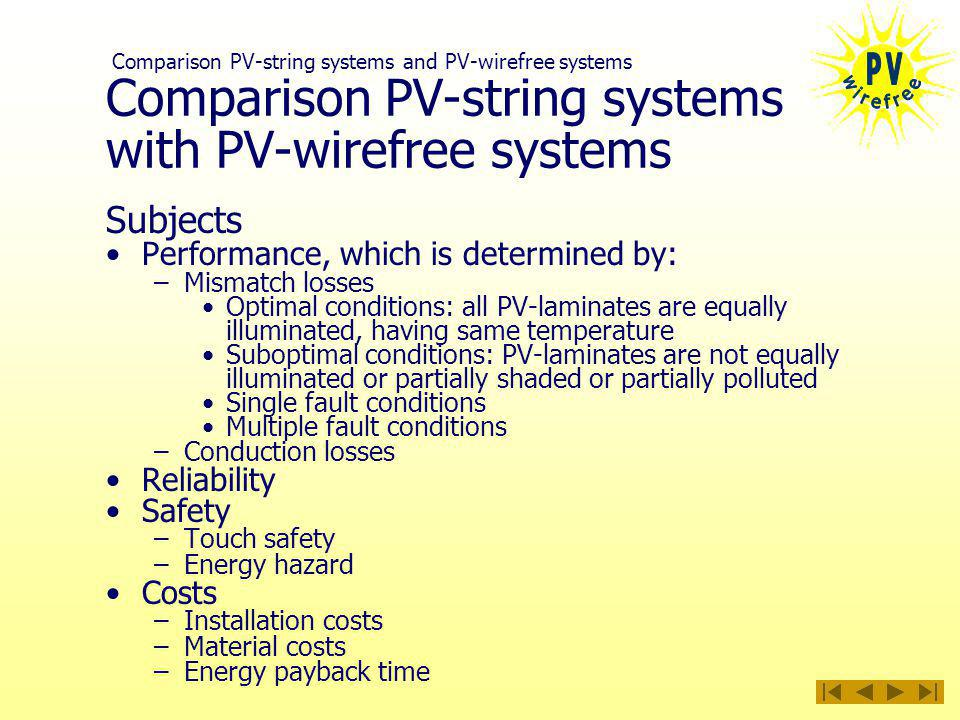 Comparison PV-string systems with PV-wirefree systems Subjects Performance, which is determined by: –Mismatch losses Optimal conditions: all PV-laminates are equally illuminated, having same temperature Suboptimal conditions: PV-laminates are not equally illuminated or partially shaded or partially polluted Single fault conditions Multiple fault conditions –Conduction losses Reliability Safety –Touch safety –Energy hazard Costs –Installation costs –Material costs –Energy payback time Comparison PV-string systems and PV-wirefree systems