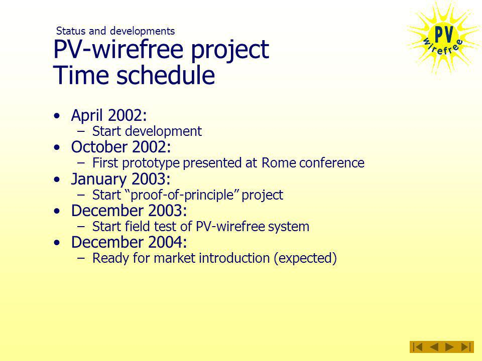 PV-wirefree project Time schedule April 2002: –Start development October 2002: –First prototype presented at Rome conference January 2003: –Start proof-of-principle project December 2003: –Start field test of PV-wirefree system December 2004: –Ready for market introduction (expected) Status and developments
