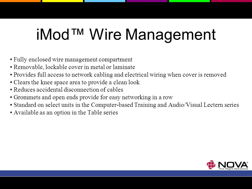 iMod Wire Management Fully enclosed wire management compartment Removable, lockable cover in metal or laminate Provides full access to network cabling