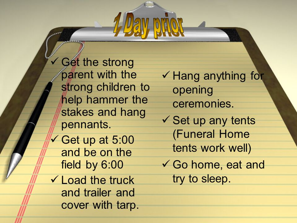 Get the strong parent with the strong children to help hammer the stakes and hang pennants.
