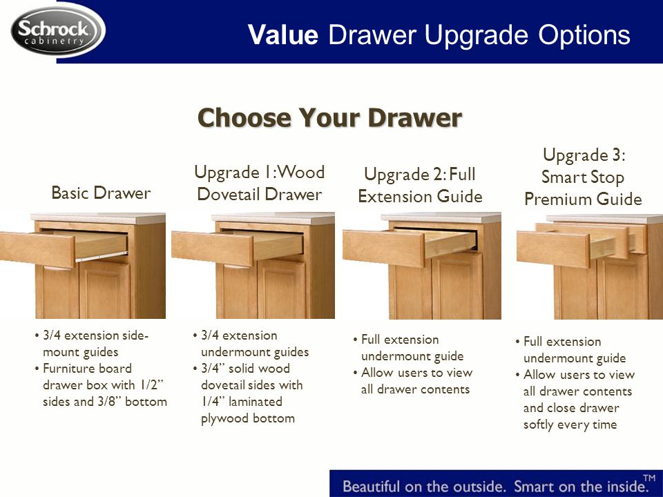Basic Drawer Choose Your Drawer Upgrade 1: Wood Dovetail Drawer Upgrade 2: Full Extension Guide 3/4 extension side- mount guides Furniture board drawer box with 1/2 sides and 3/8 bottom 3/4 extension undermount guides 3/4 solid wood dovetail sides with 1/4 laminated plywood bottom Full extension undermount guide Allow users to view all drawer contents Full extension undermount guide Allow users to view all drawer contents and close drawer softly every time Upgrade 3: Smart Stop Premium Guide Value Drawer Upgrade Options
