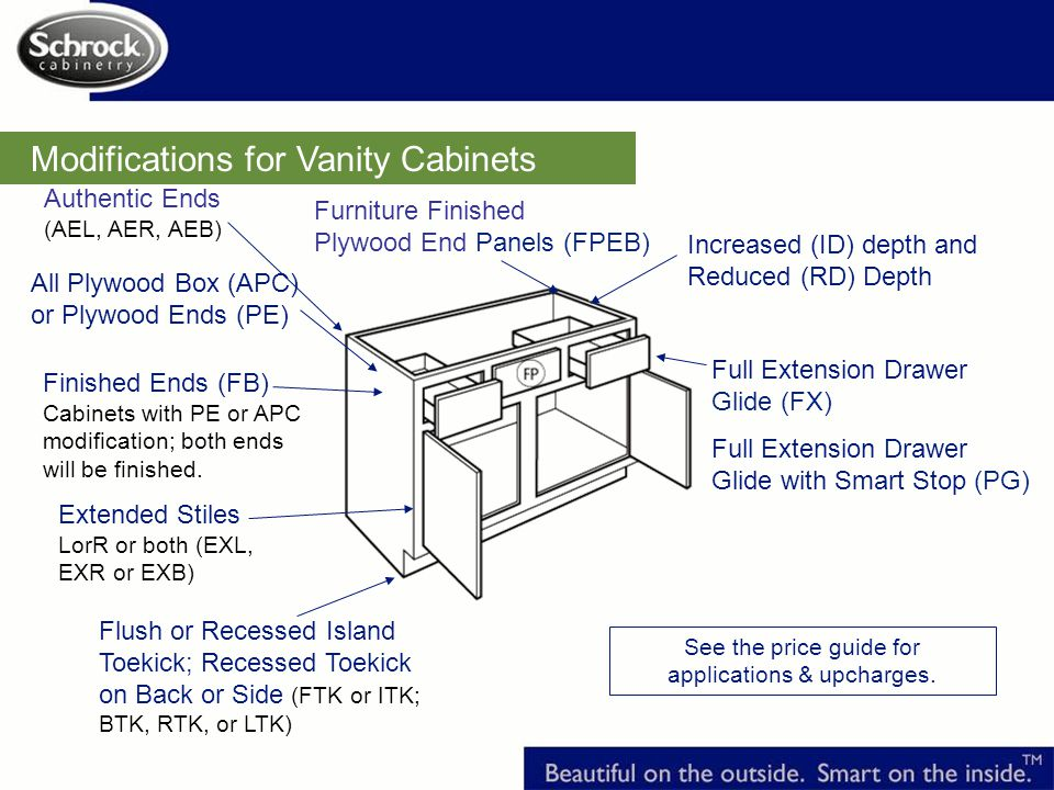 Modifications for Vanity Cabinets Extended Stiles LorR or both (EXL, EXR or EXB) Increased (ID) depth and Reduced (RD) Depth See the price guide for applications & upcharges.