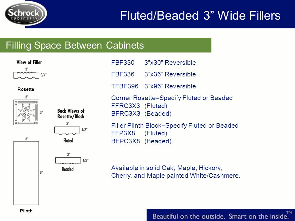 Filling Space Between Cabinets FBF330 3x30 Reversible FBF336 3x36 Reversible TFBF396 3x96 Reversible Corner Rosette–Specify Fluted or Beaded FFRC3X3 (Fluted) BFRC3X3 (Beaded) Filler Plinth Block–Specify Fluted or Beaded FFP3X8 (Fluted) BFPC3X8 (Beaded) Available in solid Oak, Maple, Hickory, Cherry, and Maple painted White/Cashmere.