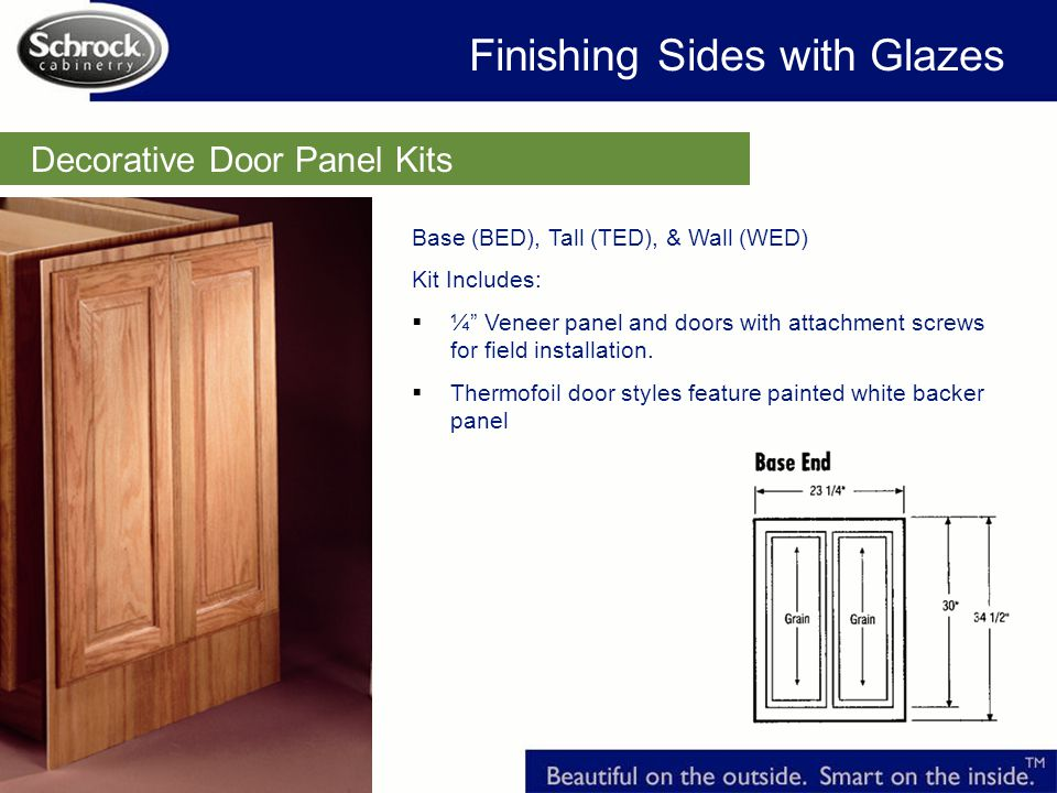 Decorative Door Panel Kits Base (BED), Tall (TED), & Wall (WED) Kit Includes: ¼ Veneer panel and doors with attachment screws for field installation.