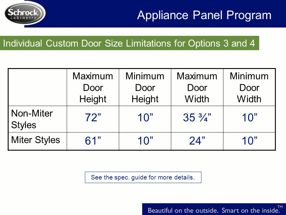 Individual Custom Door Size Limitations for Options 3 and 4 Maximum Door Height Minimum Door Height Maximum Door Width Minimum Door Width Non-Miter Styles 721035 ¾10 Miter Styles 61102410 Appliance Panel Program See the spec.