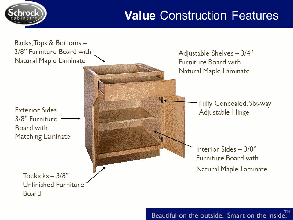 Value Construction Features Interior Sides – 3/8 Furniture Board with Natural Maple Laminate Adjustable Shelves – 3/4 Furniture Board with Natural Maple Laminate Exterior Sides - 3/8 Furniture Board with Matching Laminate Backs, Tops & Bottoms – 3/8 Furniture Board with Natural Maple Laminate Fully Concealed, Six-way Adjustable Hinge Toekicks – 3/8 Unfinished Furniture Board