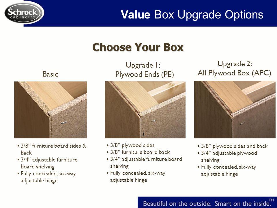 3/8 furniture board sides & back 3/4 adjustable furniture board shelving Fully concealed, six-way adjustable hinge Basic Upgrade 1: Plywood Ends (PE) 3/8 plywood sides 3/8 furniture board back 3/4 adjustable furniture board shelving Fully concealed, six-way adjustable hinge Upgrade 2: All Plywood Box (APC) 3/8 plywood sides and back 3/4 adjustable plywood shelving Fully concealed, six-way adjustable hinge Choose Your Box Value Box Upgrade Options