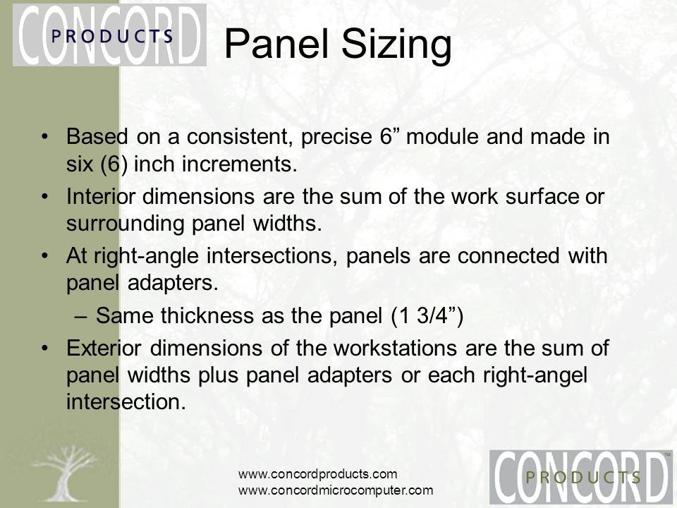 www.concordproducts.com www.concordmicrocomputer.com Panel Connection Concord Products unique internal panel connection system –provides the highest level of structural integrity –resists flex over the life of the system –Positive metal to metal connection (prevents tolerance variance) Each panel is furnished with a panel locking bolt.