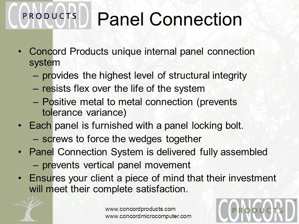 www.concordproducts.com www.concordmicrocomputer.com Surfaces Standard –high pressure laminate finishes Curved –24 inside radius Inside corner –maximum work area in a 90 panel connection Conference D or P shaped Pass-thru –fits pass-thru panel Curved extended –fits in a radius panel Cluster –various angles to fit workstation layouts
