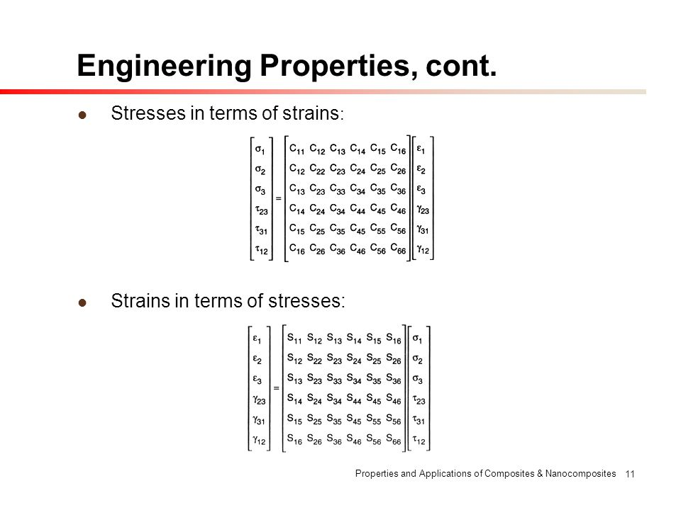 Properties and Applications of Composites & Nanocomposites 11 Engineering Properties, cont. Stresses in terms of strains : Strains in terms of stresse