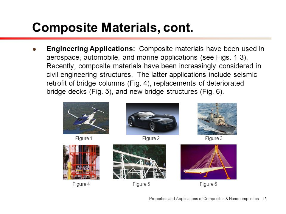 Properties and Applications of Composites & Nanocomposites 13 Composite Materials, cont. Engineering Applications: Composite materials have been used