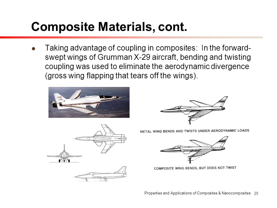 Properties and Applications of Composites & Nanocomposites 20 Composite Materials, cont. Taking advantage of coupling in composites: In the forward- s