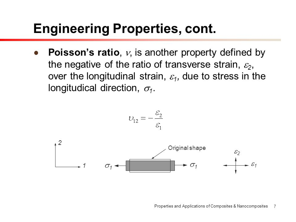 Properties and Applications of Composites & Nanocomposites 7 Engineering Properties, cont. Poissons ratio,, is another property defined by the negativ