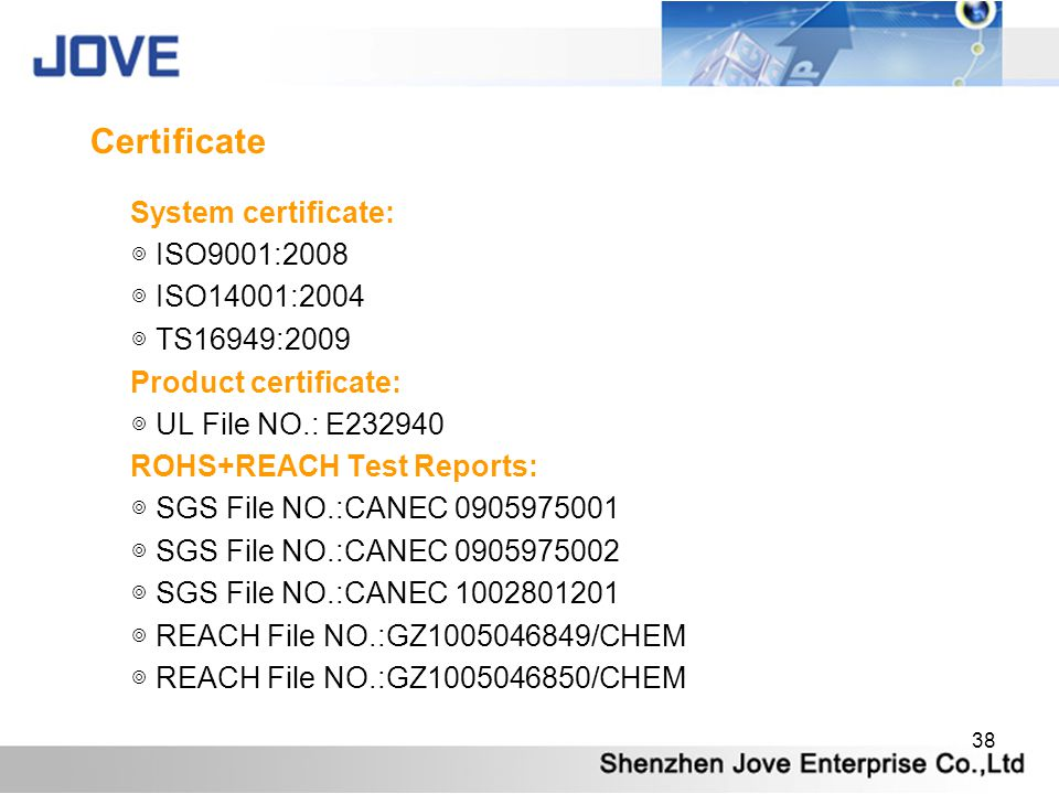 38 Certificate System certificate: ISO9001:2008 ISO14001:2004 TS16949:2009 Product certificate: UL File NO.: E232940 ROHS+REACH Test Reports: SGS File NO.:CANEC 0905975001 SGS File NO.:CANEC 0905975002 SGS File NO.:CANEC 1002801201 REACH File NO.:GZ1005046849/CHEM REACH File NO.:GZ1005046850/CHEM
