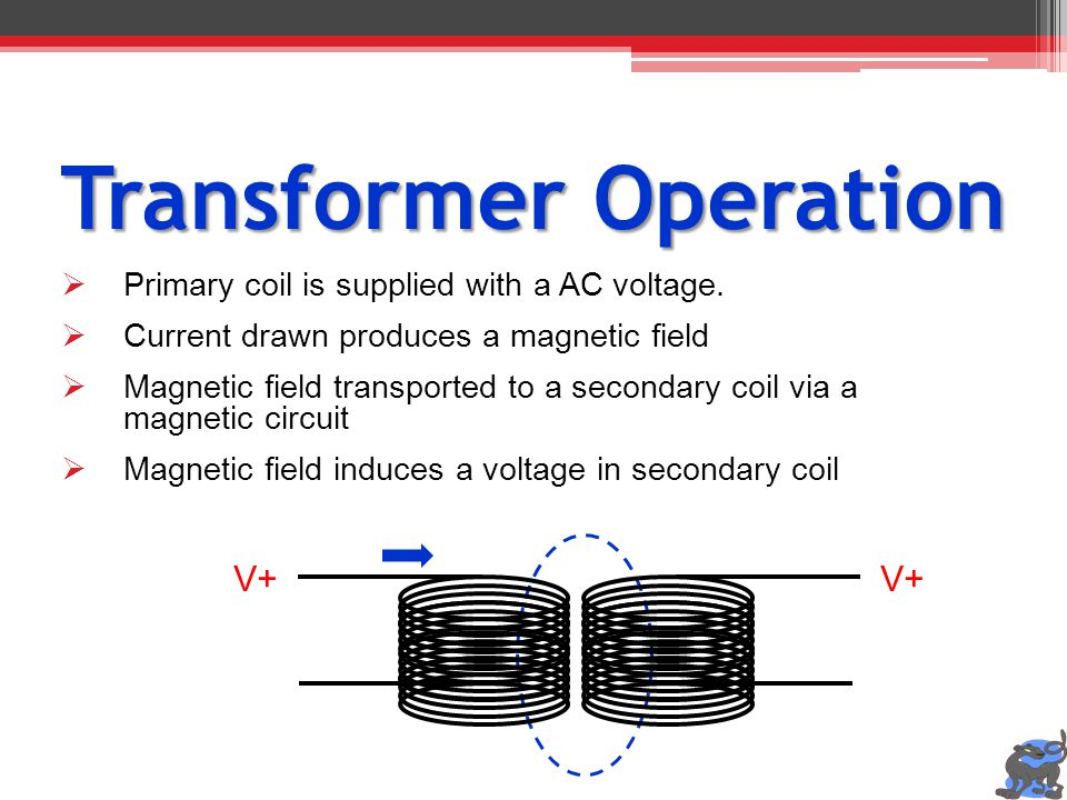 Transformer Operation Primary coil is supplied with a AC voltage. Current drawn produces a magnetic field Magnetic field transported to a secondary co