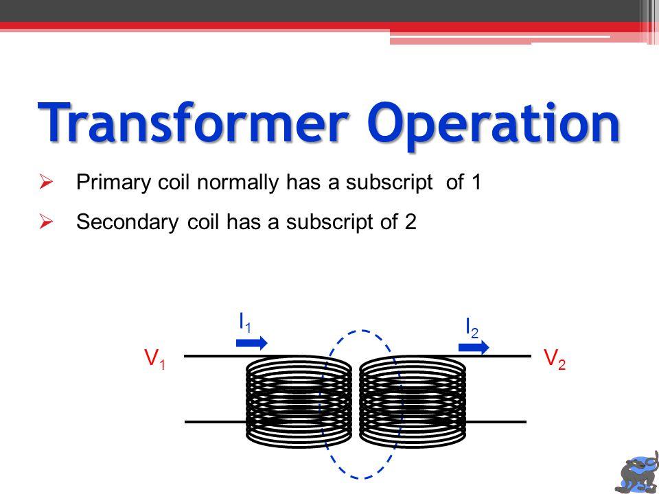 Transformer Operation Primary coil normally has a subscript of 1 Secondary coil has a subscript of 2 V1V1 V2V2 I1I1 I2I2
