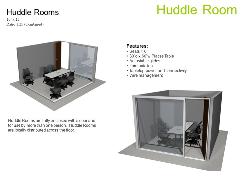 Huddle Room Huddle Rooms 10 x 12 Ratio 1:25 (Combined) Huddle Rooms are fully enclosed with a door and for use by more than one person.