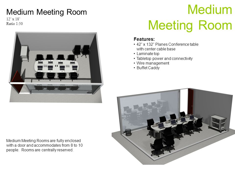 Medium Meeting Room Medium Meeting Room 12 x 18 Ratio 1:50 Medium Meeting Rooms are fully enclosed with a door and accommodates from 8 to 10 people.