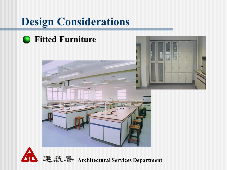 Architectural Services Department Design Considerations Fitted Furniture
