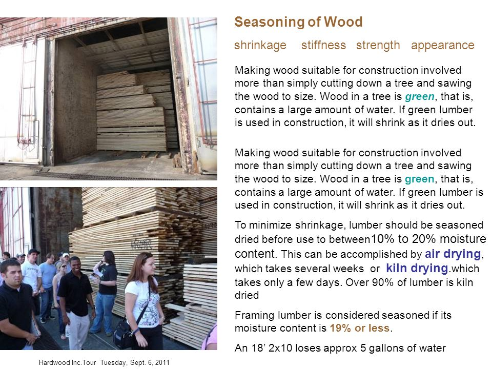 Making wood suitable for construction involved more than simply cutting down a tree and sawing the wood to size. Wood in a tree is green, that is, con