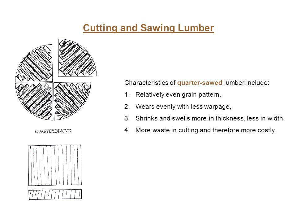 Cutting and Sawing Lumber Characteristics of quarter-sawed lumber include: 1.Relatively even grain pattern, 2.Wears evenly with less warpage, 3.Shrink