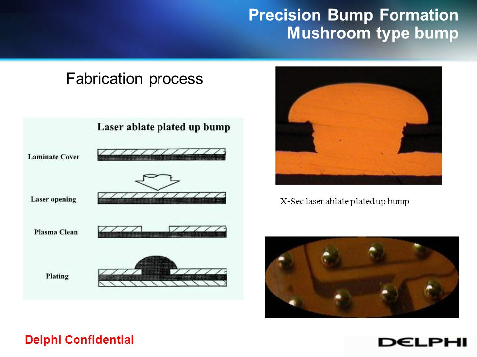 Delphi Confidential Precision Bump Formation Mushroom type bump X-Sec laser ablate plated up bump Fabrication process
