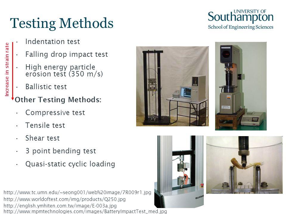 Testing Methods Indentation test Falling drop impact test High energy particle erosion test (350 m/s) Ballistic test Other Testing Methods: Compressiv
