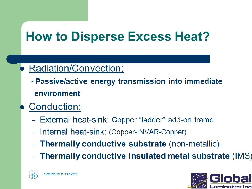 ©VENTEC ELECTRONICS How to Disperse Excess Heat.