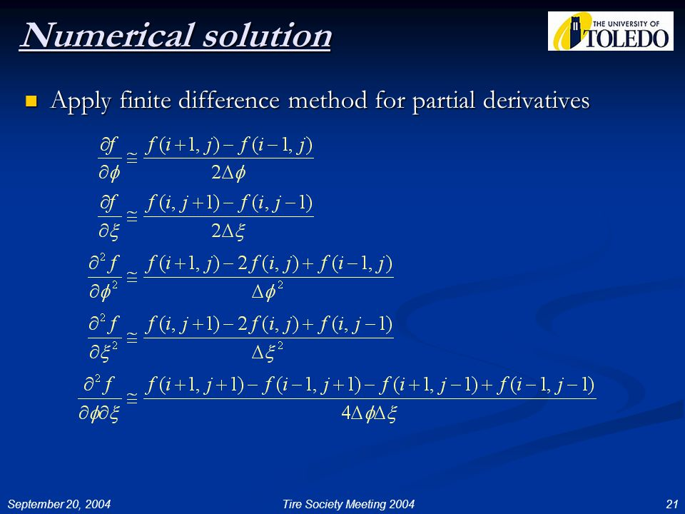 September 20, 200421Tire Society Meeting 2004 Numerical solution Apply finite difference method for partial derivatives Apply finite difference method for partial derivatives